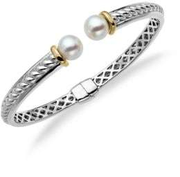 Lord & Taylor Sterling Silver and14Kt. Yellow Gold Freshwater Pearl Bangle Bracelet