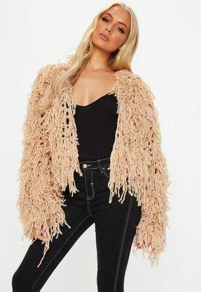 Missguided Nude Shaggy Crop Knit Cardigan