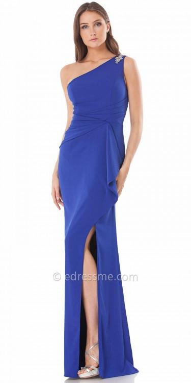 Carmen Marc ValvoCarmen Marc Valvo Infusion Beaded One Shoulder Jersey Evening Dress