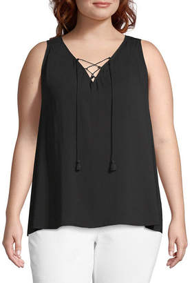 A.N.A Sleeveless V-Neck Tassle Tank - Plus