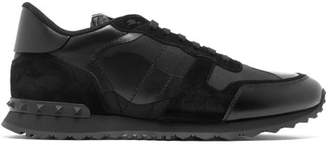 Valentino Rockrunner Canvas And Suede Trainers - Mens - Black