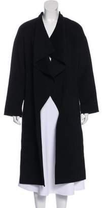 St. John Long Wool Coat Black Long Wool Coat
