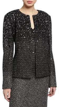St. John Ombre Metallic Tweed Jacket w/ Belt & Sequin Detail