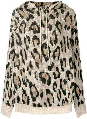 R 13 leopard print hooded sweater