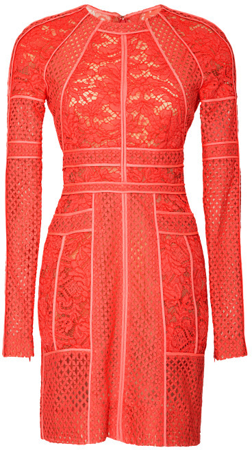 J. Mendel Paneled Long Sleeve Mixed Lace Dress