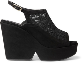 Robert Clergerie - Danat Embroidered Mesh And Suede Platform Wedge Sandals - Black $625 thestylecure.com