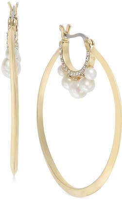 Kate Spade Gold-Tone Pave & Imitation Pearl Hoop Earrings
