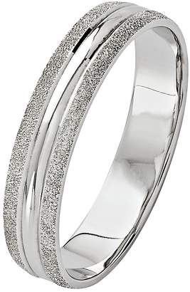 Revere 9ct White Gold Frosted Edge Ring