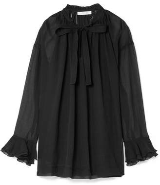 See by Chloe Pussy-bow Ruffled Cotton And Silk-blend Crepon Blouse - Black