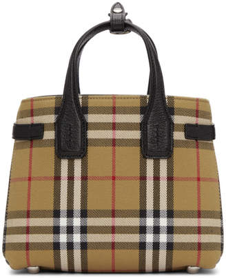 Burberry Beige Small Banner Check Tote