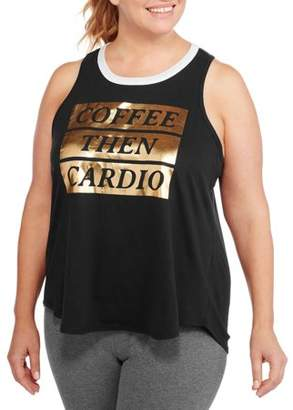 Fitspiration F.I.T. Women's Plus Coffee Then Cardio Hi-Low Workout Tank