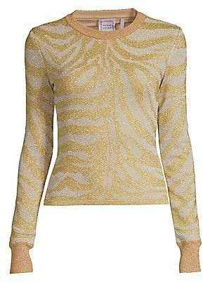 Herve Leger Women's Zebra-Print Lurex Knit Long-Sleeve Sweater