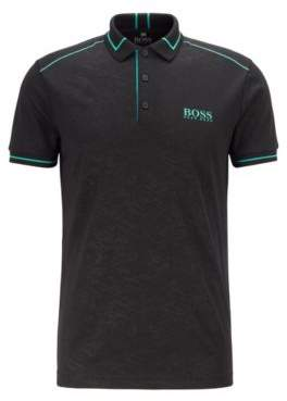 Moisture-wicking polo shirt in debossed technical piqu