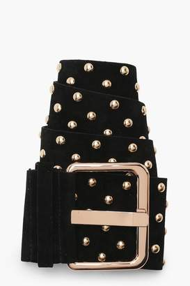 boohoo Studded Suedette Waist Belt