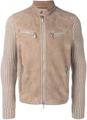 Eleventy ribbed sleeve jacket