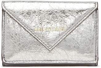 Balenciaga 'Papier' cracked metallic leather mini wallet