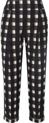 Temperley London Checked Cotton Tapered Pants - Black