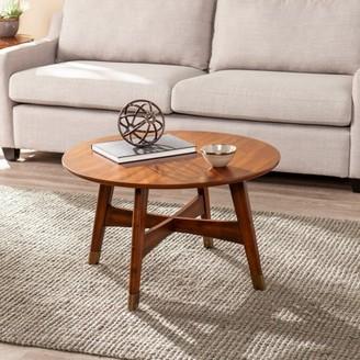 Mid-Century MODERN Southern Enterprises Rayonta Round Coffee Table, Midcentury Modern, Dark Sienna