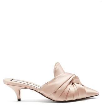 No.21 No. 21 - Twisted Satin Point Toe Mules - Womens - Nude