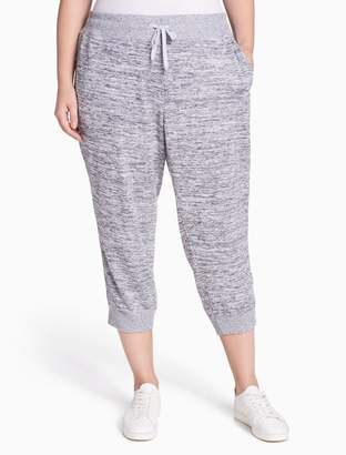 Calvin Klein plus size performance ribbed side cropped leggings