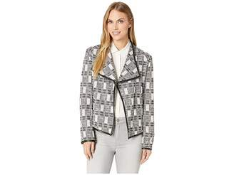 Calvin Klein Tweed Jacket with Faux Leather Trim