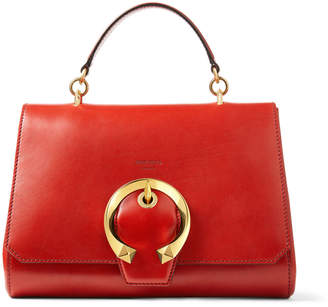 Jimmy Choo MADELINE TOP HANDLE Red Calf Leather Top Handle Bag with Metal Buckle