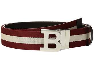 Bally B Buckle Stripe Canvas and Leather Belt