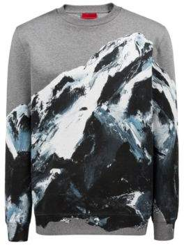 cf1b4b469b HUGO Boss Oversized-fit sweatshirt in cotton seasonal mountain graphic XS  Patterned