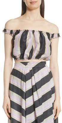 Apiece Apart Shina Off the Shoulder Linen & Silk Crop Top