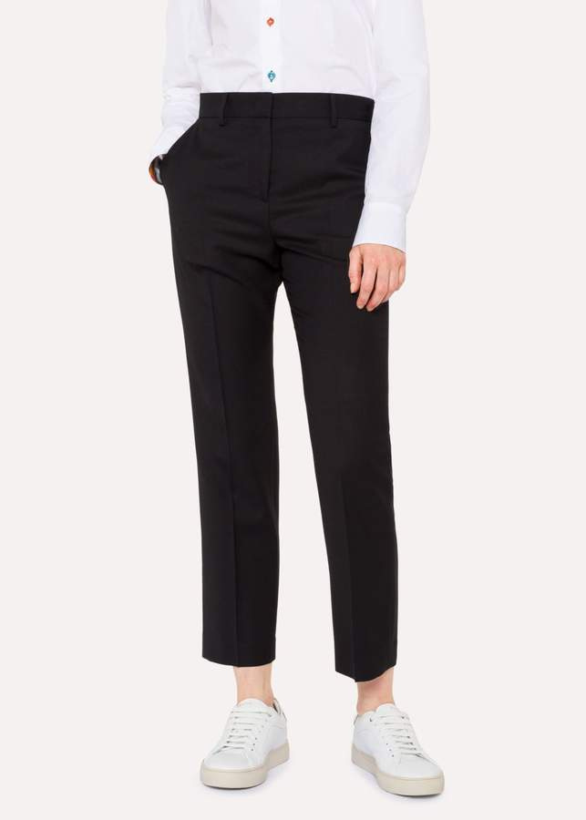A Suit To Travel In - Women's Black Slim-Fit Wool Trousers
