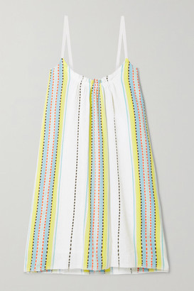 Lemlem Net Sustain Welela Striped Cotton-blend Mini Dress - White