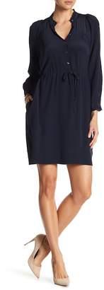 Rebecca Taylor Long Sleeve Waist Tie Ruffle Trim Silk Dress