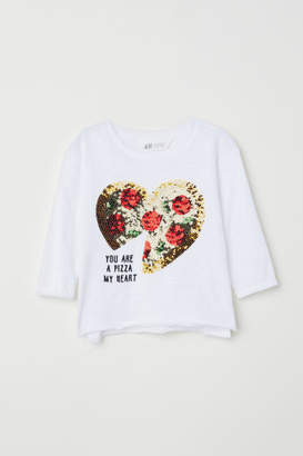 H&M Jersey Top with Sequins - White