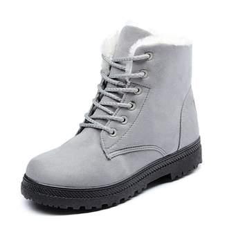 7a58fbe0e197 Susanny Suede Flat Platform Sneaker Shoes Plus Velvet Winter Women s Lace  Up Cotton Snow Boots 7
