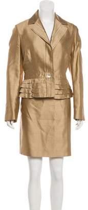 Valentino Long Sleeve Knee-Length Skirt Suit