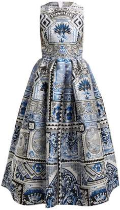 Mary Katrantzou Astere Postcard Jacquard Midi Dress - Womens - Blue Multi