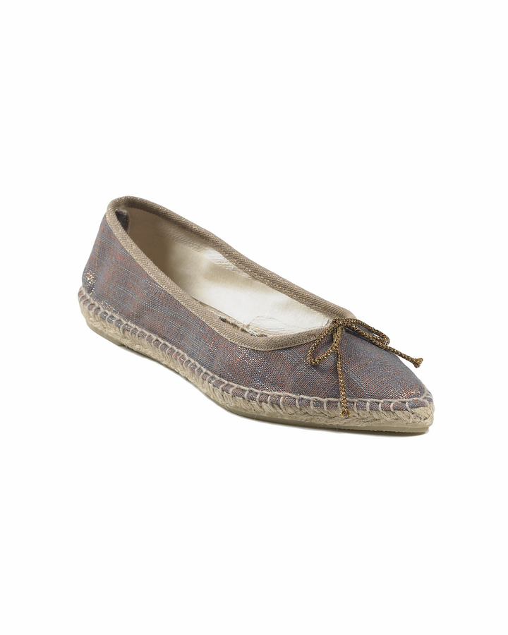Ballet-Style Espadrille with Pointed Toe in Metallic Canvas by Spiegel
