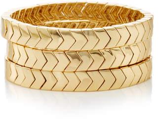 Roxanne Assoulin Set-Of-Three The Mixers Chevron Gold Bracelets