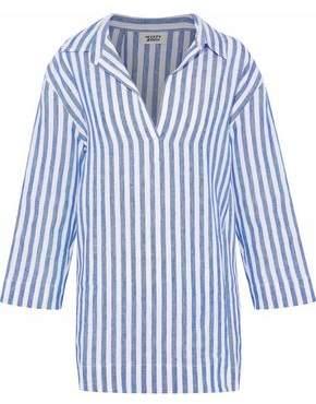 Sleepy Jones Striped Linen-Piqué Pajama Top