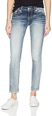 Miss Me Women's Mid-Rise Cuffed Ankle Skinny Jeans With Embroidery