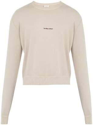 Saint Laurent Distressed-edge crew-neck sweater