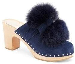 Loeffler Randall Phillips Fox Fur Pom-Pom Suede Clogs