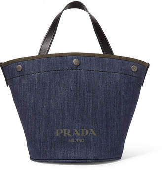 Prada Leather-trimmed Printed Denim Tote - Blue b308ef3de4