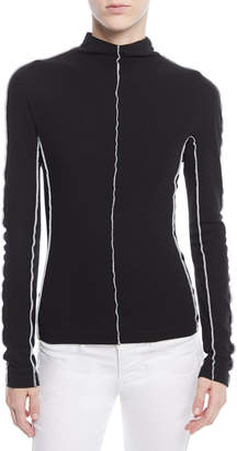 Rosetta Getty Mock-Neck Long-Sleeve Reverse-Seam Cotton Jersey Top