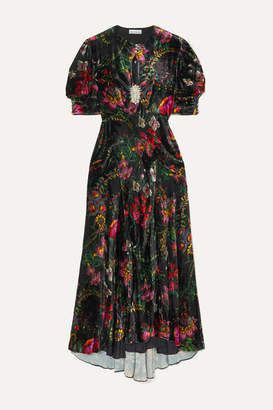 Paco Rabanne Crystal-embellished Floral-print Velvet Maxi Dress - Black