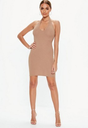 Missguided Camel Halterneck Ribbed Mini Dress
