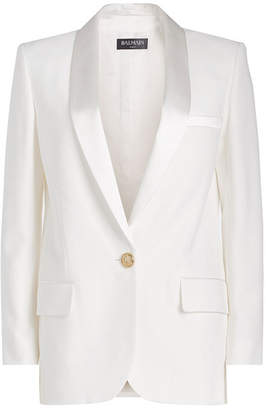 Balmain Crepe Blazer with Embossed Button