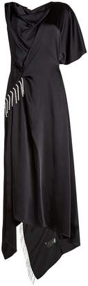 Christopher Kane Asymmetric Satin Dress with Crystal Embellishment