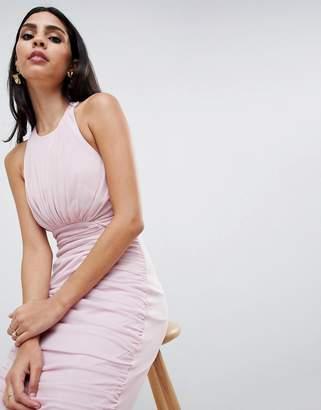 Asos DESIGN Mesh Ruched Curved Seam Detail Dress