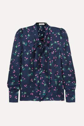 ba3aa0186cdeb Racil Agata Pussy-bow Floral-print Silk-satin Blouse - Navy